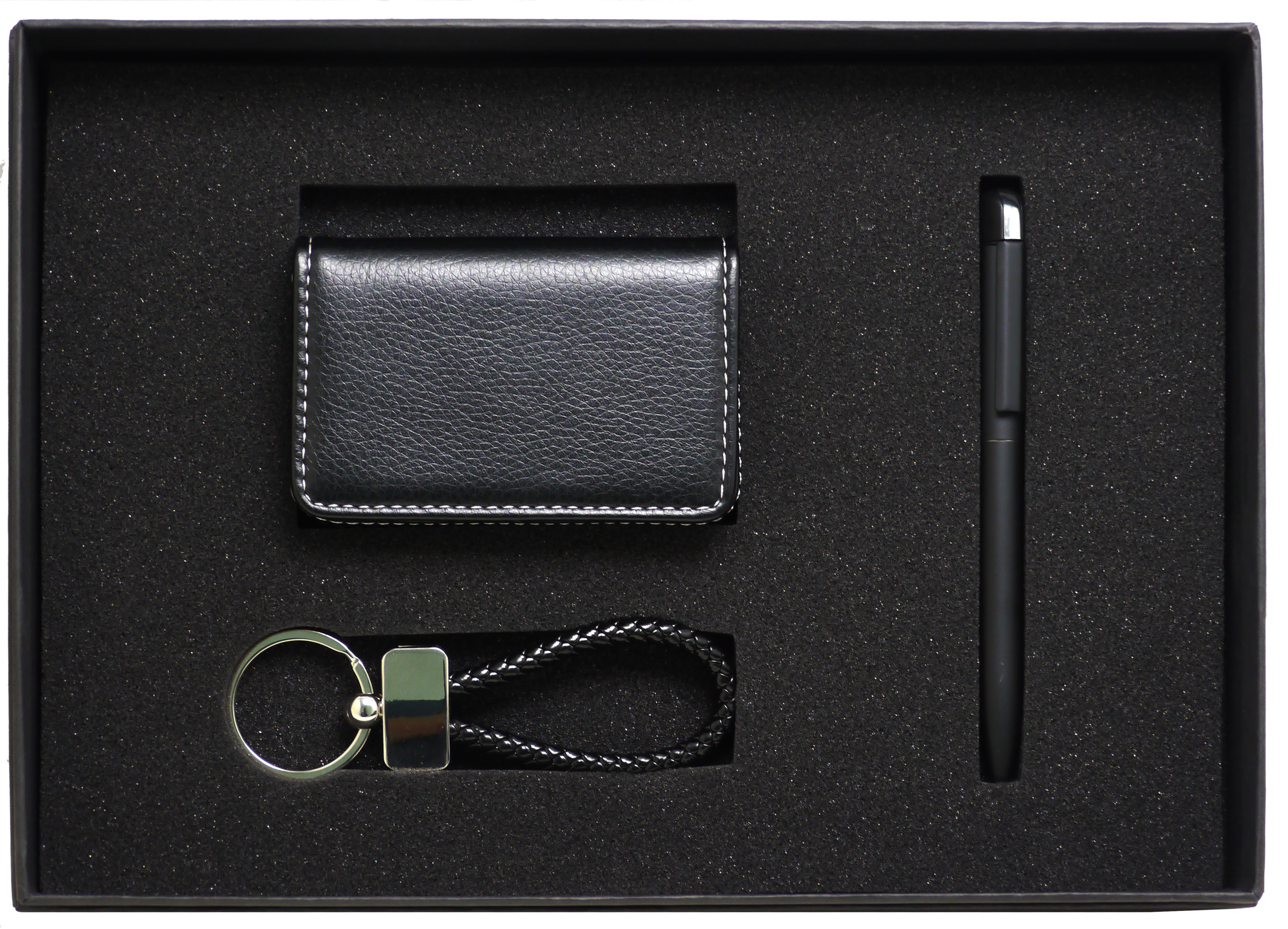 Newt Image Black Leather Keyring in Gift Box